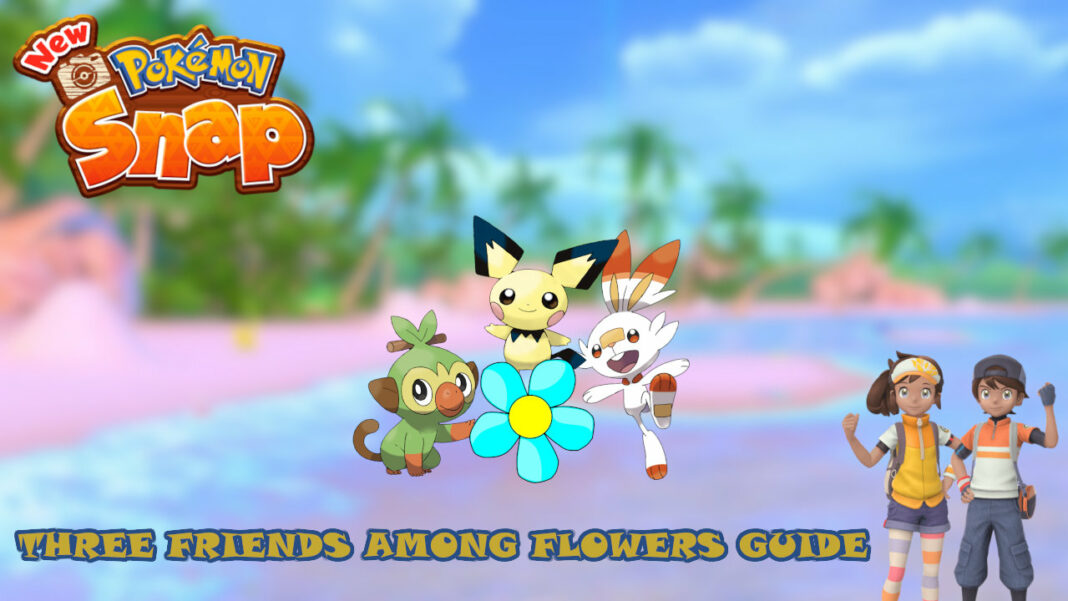 new-pokemon-snap-three-friends-among-flowers